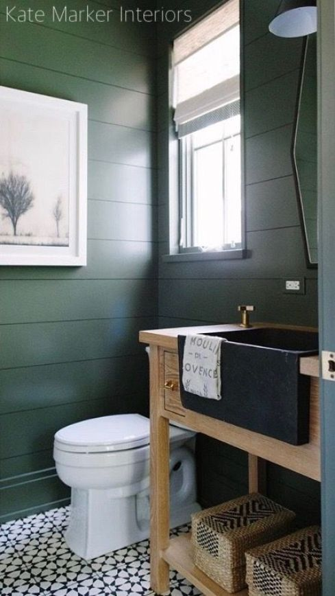 Kate Marker Interiors Green Wall Bathroom
