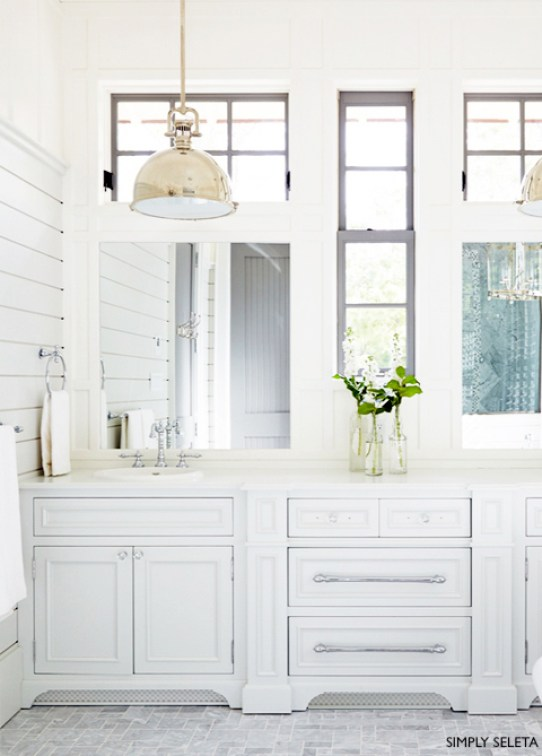 Simply Seleta White Vanities with Chrome Faucets