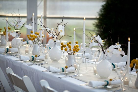 Traditional Home White Table Setting with Merigold Accents