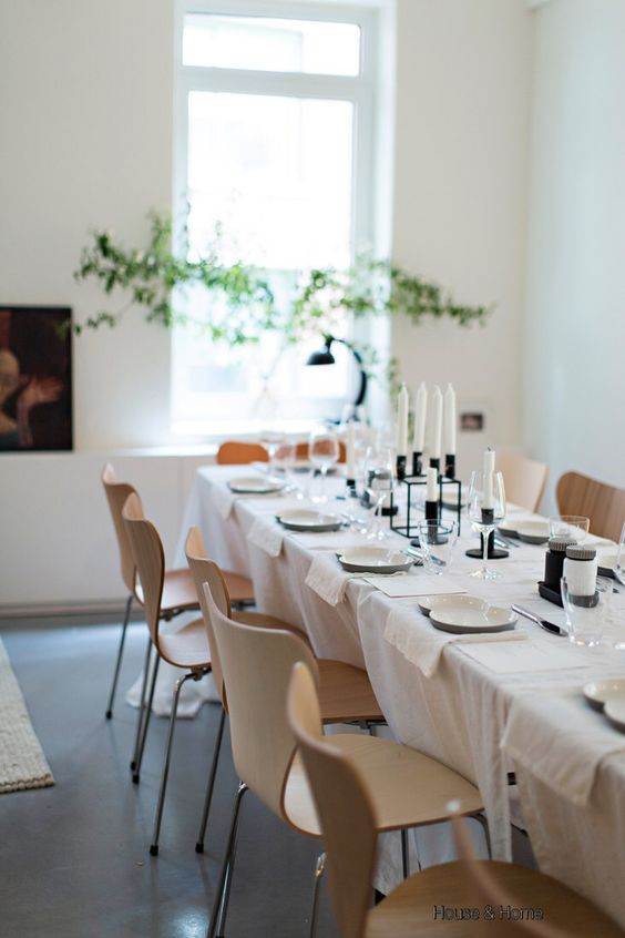 House & Home Black and White Table Setting