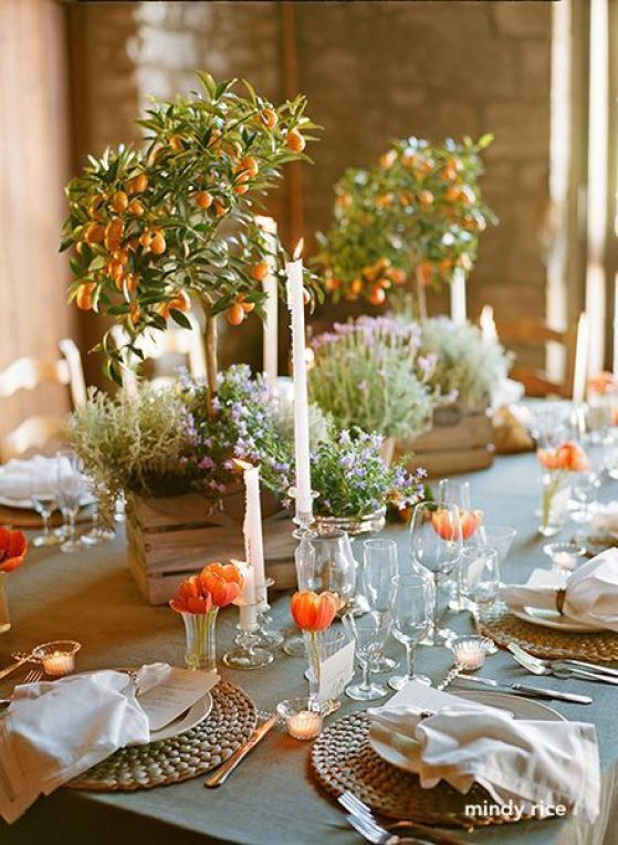 mindy rice- orange spring table setting