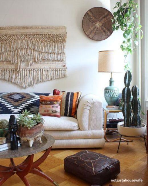 notjustahousewife boho living room via pinterest