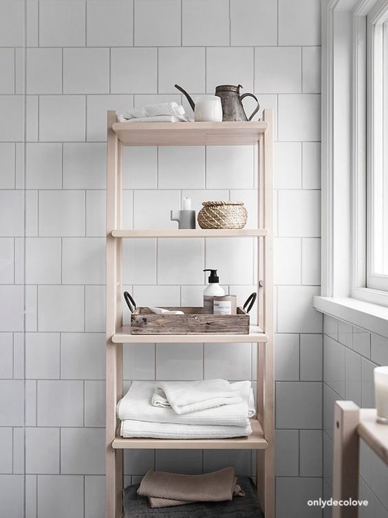 onlydecolove bathroom-openraw wood shelving-bath accessories -8x8 white wall tiles