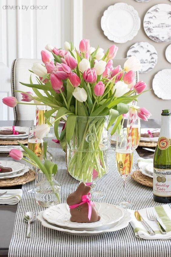 driven by decor-easter table setting with pink tulips and chocolate bunny