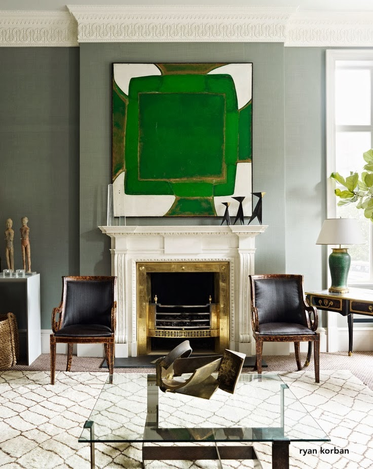 ryan korban design- gray green living room-large green art over fireplace-brass fireplace surround