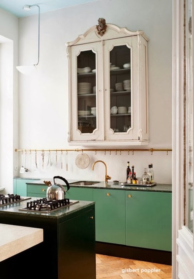 gisbert poppler kitchen-minty green base cabinets-dual gas cooktop-brass hanging hooks-vintage white wall cabinet