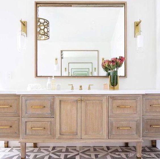 Tiffany Harris Design Warm Woods -Patterned Tile Floor- Bathroom Design
