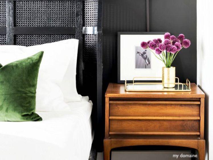 mydomaine bedroom-mossy green velvet bedfellow and green stems