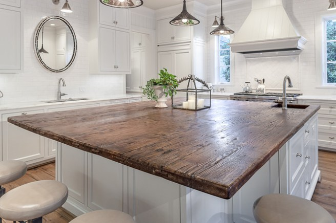 houzz traditional-kitchen-distressed wood countertop
