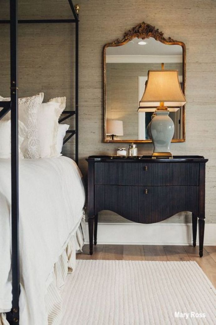 Mary Ross Bedroom Design With Black Painted Night Stand and Gold Leaf Mirror