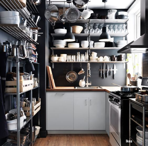 Ikea Small Kitchen with Lots of Open Shelving