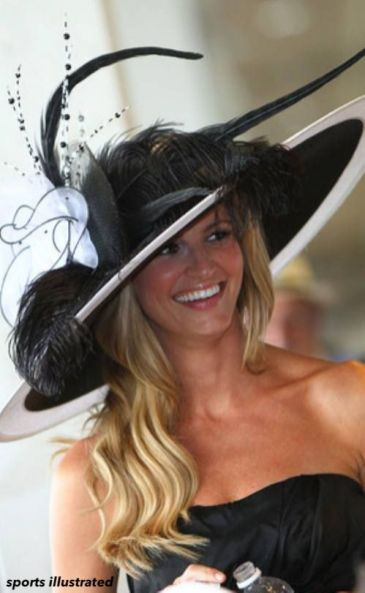 sports illustrated girl in black and white kentucky derby hat