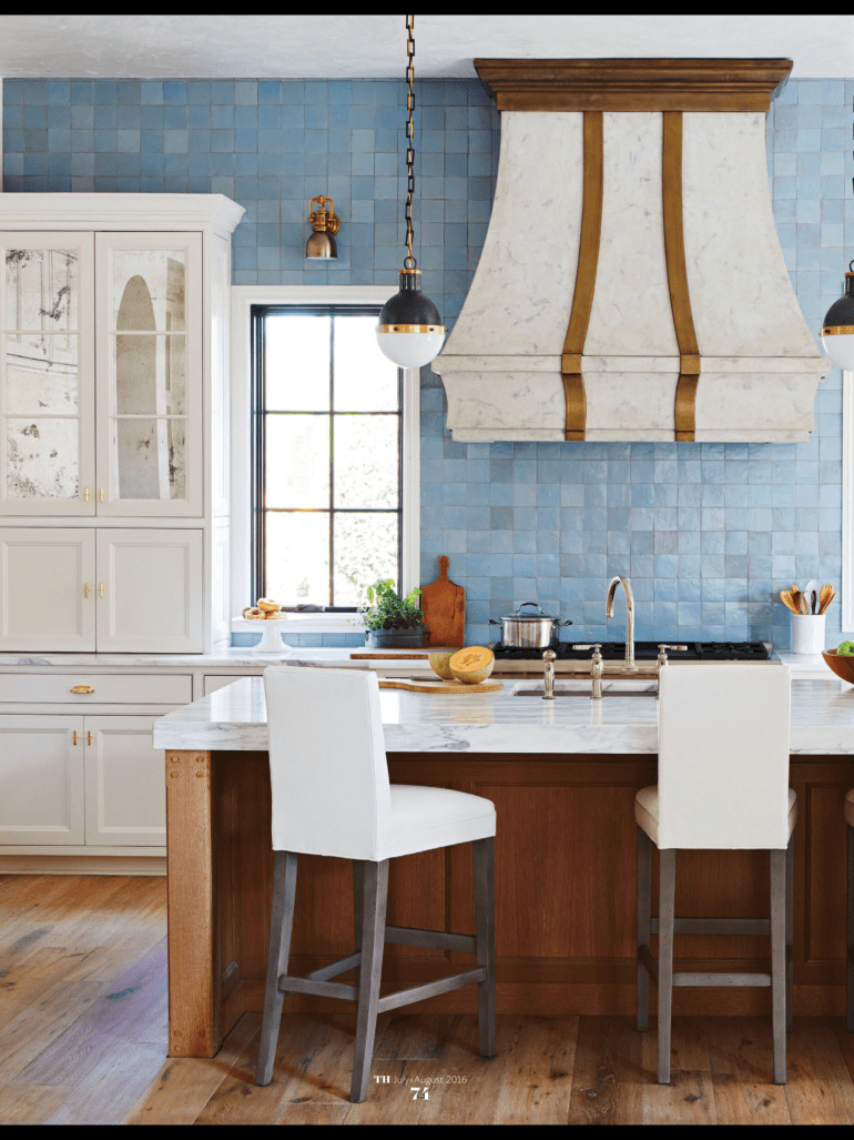 Traditional Home Kitchen with Blue Wall Of Tile