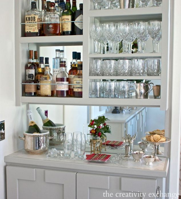 thecreavityexchange-painted gray bar cabinets-mirrored open shelves