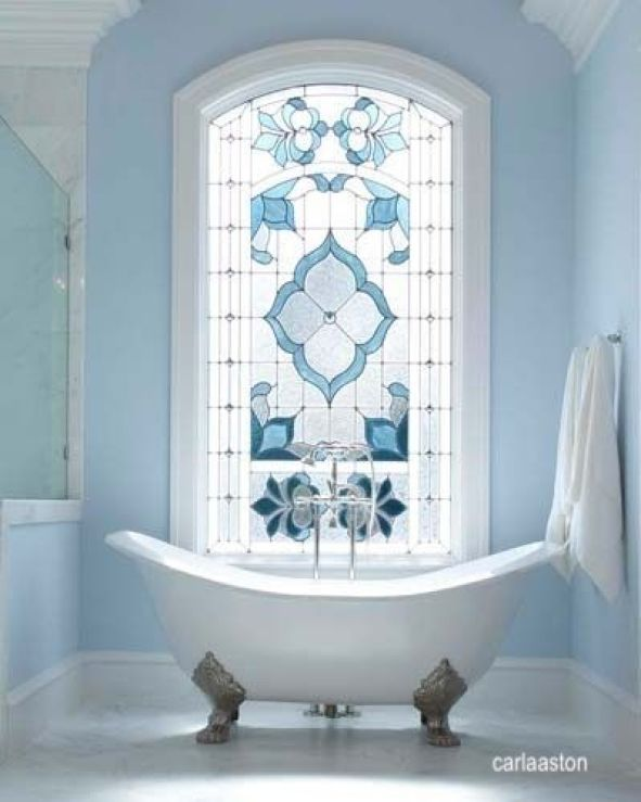 carla aston- blue leaded glass window- free standing tub
