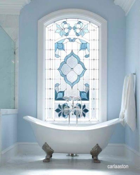 carla aston- blue leaded glass window- free standing tub