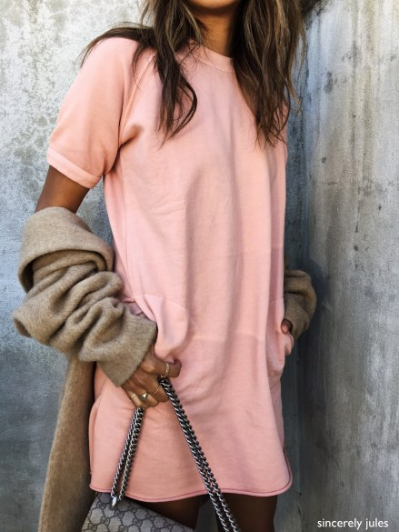 sincerely jules- peach colorful short sleeve sweatshirt and brown heather sweater