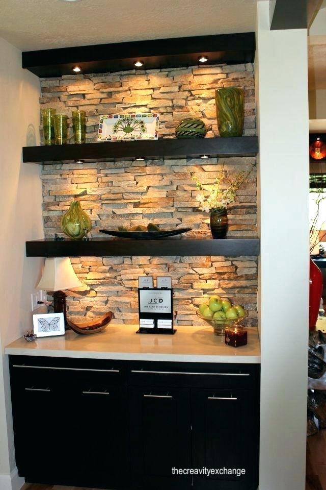 thecreavityexchange- built in bar- stone wall- floating shelves