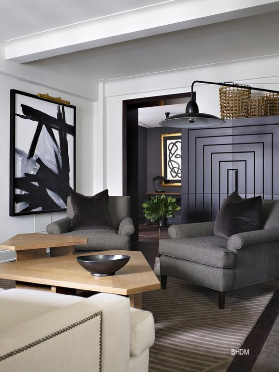 Living Room BHDM Design with black=gold-modern furniture-large art-cool lamp
