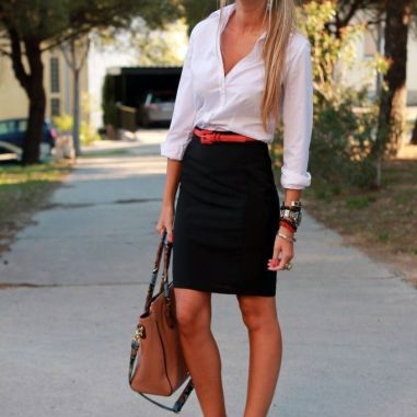 pinterest-black-pencil-skirt-red-heels-orange-belt-white-boyfriend-shirt