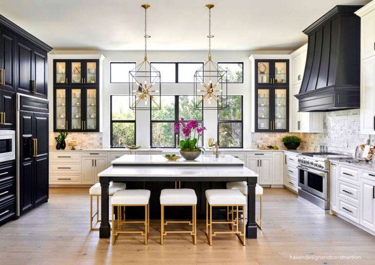 havendesignandconstuction-black-white-kitchen-statement-lighting-wood-floors-professional-range