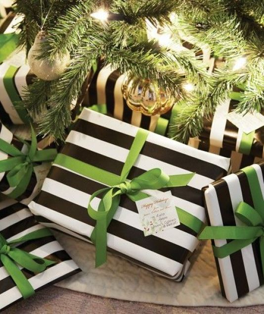 pinterest-black-white-stripe-paper-green-ribbon