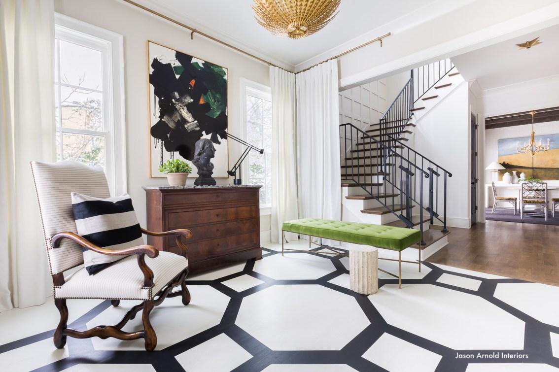 jasonarnoldinteriors-alyssarohenheckphotography-blackandwhite-interiors-green-bench-modern-art-painted wood floors