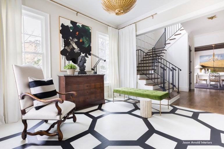 jasonarnoldinteriors-alyssarohenheckphotography-blackandwhite-interiors-green-bench-modern-art-painted wood floros