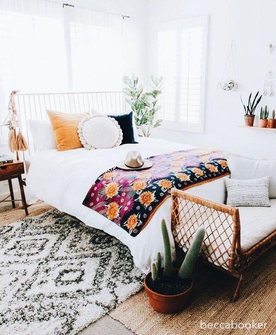 becca booker-colorful-white-boheminam-bedroom