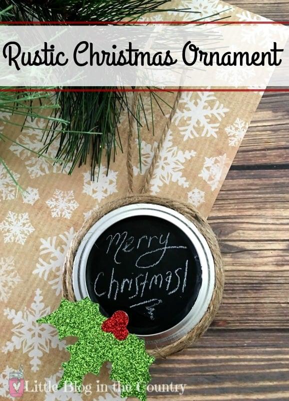 Rustic Mason Jar Lid Ornament