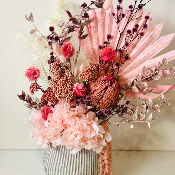 Mother's Day Dried Pink Everlasting Flowerpot