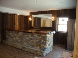 """Handcrafted rustic black walnut and large slab redwood burl counter bar by Kelly Maxwell"""