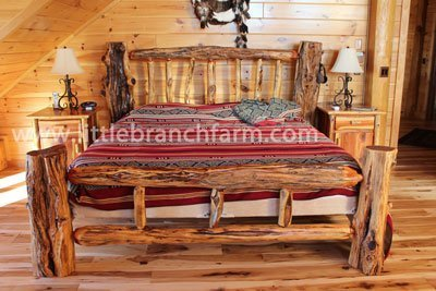 rustic log beds