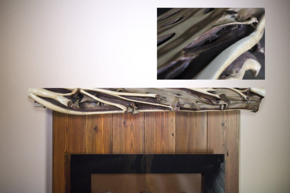 Rustic Juniper Fireplace Mantel | Littlebranch Farm