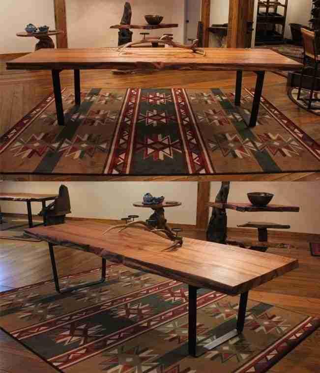 Live-edge redwood table with metal base