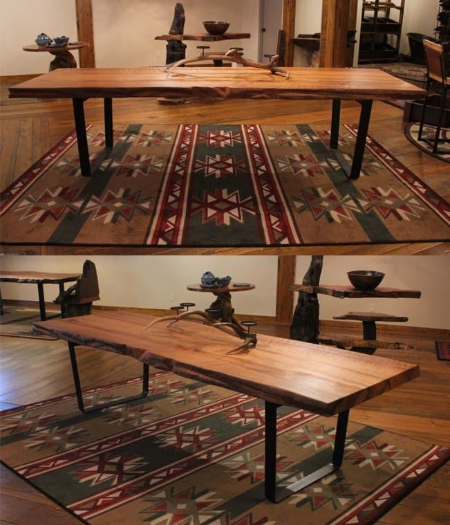 Live-edge redwood table with metal base