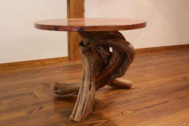 Reclaimed twisted juniper base and copper top table