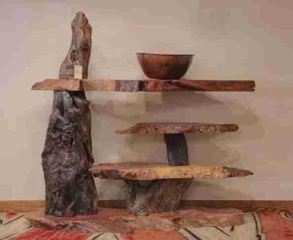 Rustic Live edge redwood table shelves