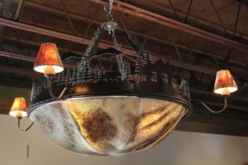 Rustic Leather Dome Chandelier