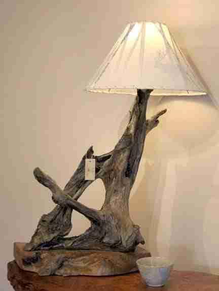 Natural rustic redwood driftwood lamp