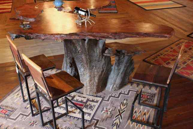 Rustic Handmade Redwood Bar with Root Base