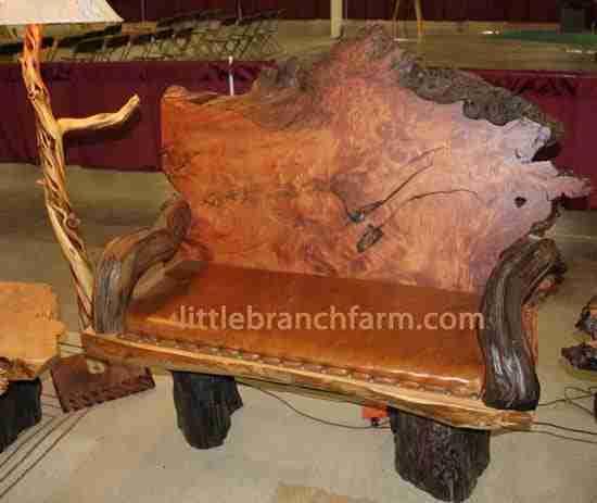 burl wood bench