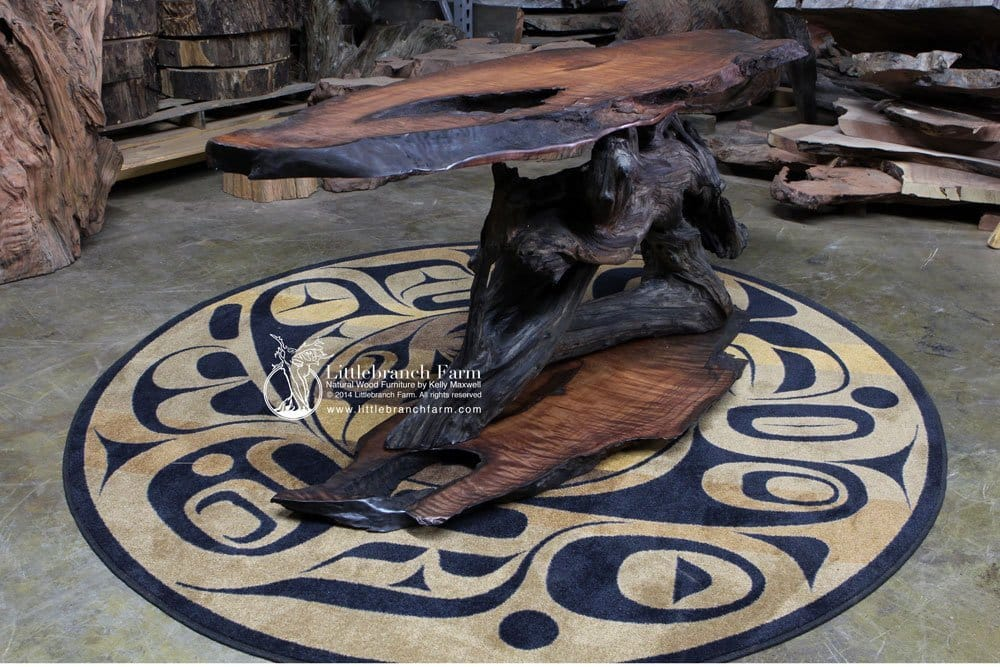Natural wood live edge table.