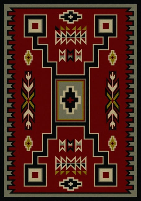 old crow - red | southwestern rugs by american dakota