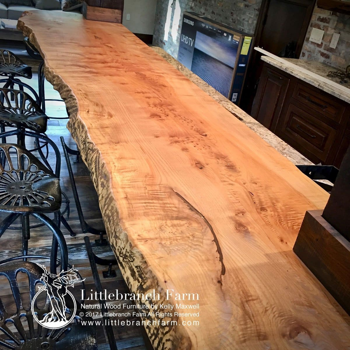 Live edge countertops in southwest kitchen decor.