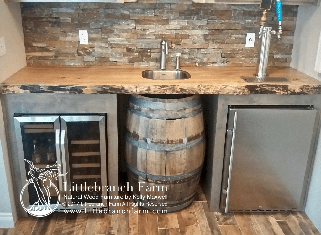 Custom wet bar with maple wood countertop