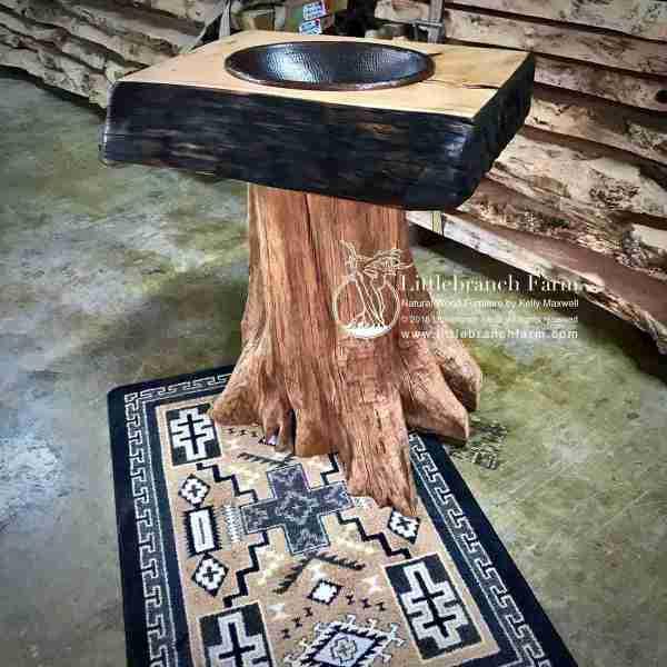 Tree stump rustic vanity on rug