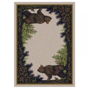 2 brown bears and pine tree rug