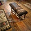 antler bench with cowhide