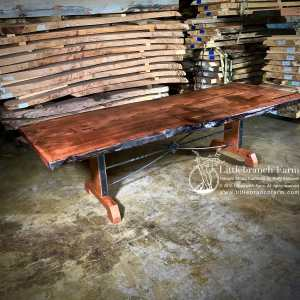 Live edge farm table with metal